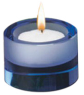 Blue Optic Glass Tealight Holder