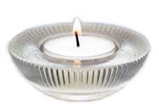 Clear Glass Ribbed Tealight Holder